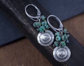 Sterling Silver Earrings - African Turquoise Cluster Earrings - Oxidized Silver Disc Earrings - 925 Artisan Earrings - Rustic Silver - odki