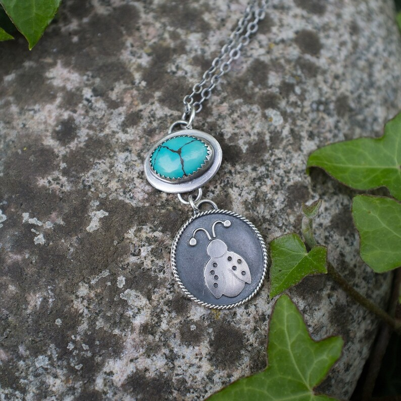 Artisan Made Summer Gift Spring Natural Gemstone Nature Jewelry Silversmith Ladybug Necklace Sterling Silver Turquoise Stone