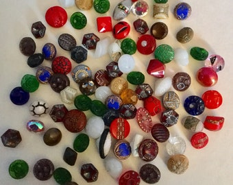 Lot 87 Tiny Vintage Glass Colorful Buttons Colors Very Small Some Sets Old