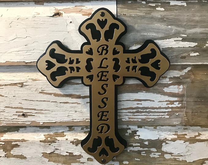 Metal Cross Blessed