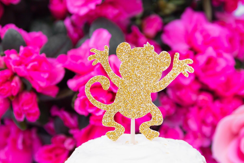 12 Glitter Monkey Cupcake Toppers Birthday Monkey Cake | Etsy