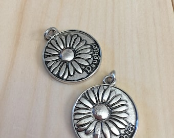 2 silver round disc daughter charms