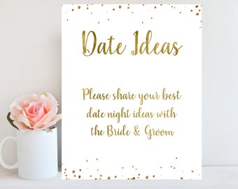 date night ideas sign gold confetti wedding games bridal shower sign wedding advice card gold bridal shower games instant download