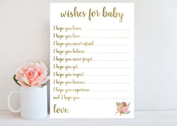 graphic relating to Wishes for Baby Printable referred to as Gold Would like for Kid Printable Card, Floral Kid Shower Activity, Lady, Boy, Expensive Little one, Floral Signal, Quick Obtain BBSG1