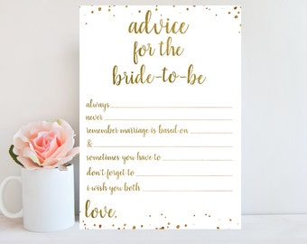 Advice for the Bride Cards, Bridal Advice Cards, Bridal Shower Game, Printable Wedding Advice Cards, Gold Confetti, Marriage Advice Cards