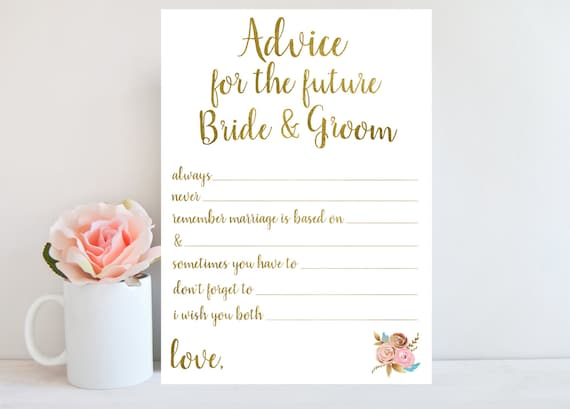 Advice For Bride And Groom Floral Sign Bridal Shower Game Etsy
