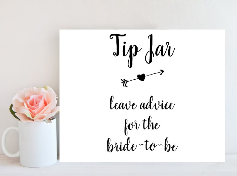 photograph relating to Printable Tip Jar Signs identified as Wedding day Suggestion Jar Indication, Bride in direction of Be Information, Bridal Shower Game titles, Tips for the Newlyweds, Wedding ceremony Suggestions Indication, Suggestions for the Bride, BRSG2