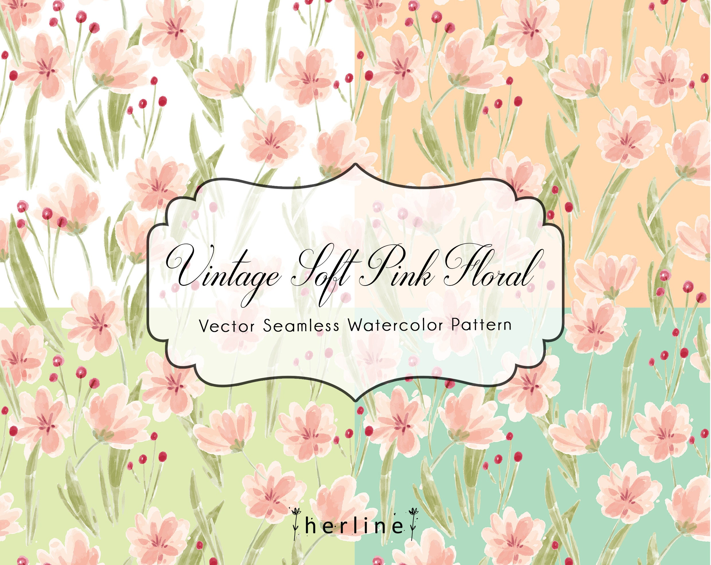 Vector Vintage Soft Pink Floral Seamless Pattern High Etsy