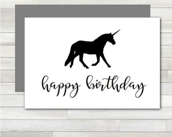 Greeting Card Happy Birthday Unicorn Printable Instant Download Last Minute DIY