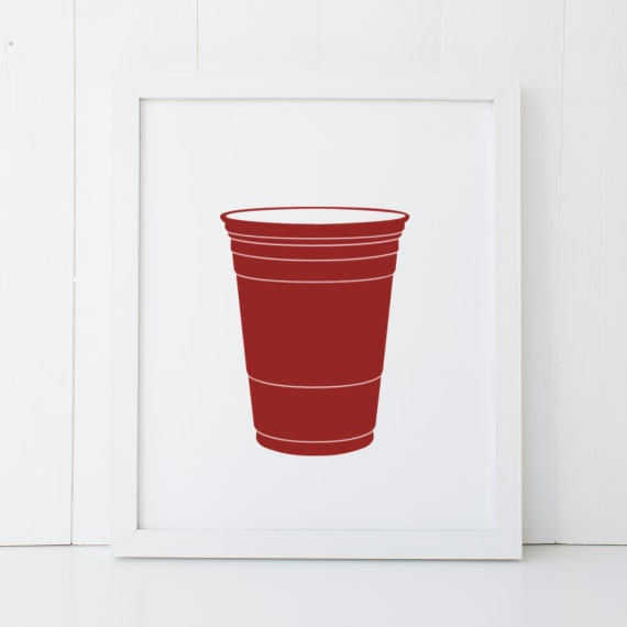 Red Solo Cup Humor Beer Pong Man Cave Home Decor Printable Wall Art INSTANT  DOWNLOAD DIY - Great Gift