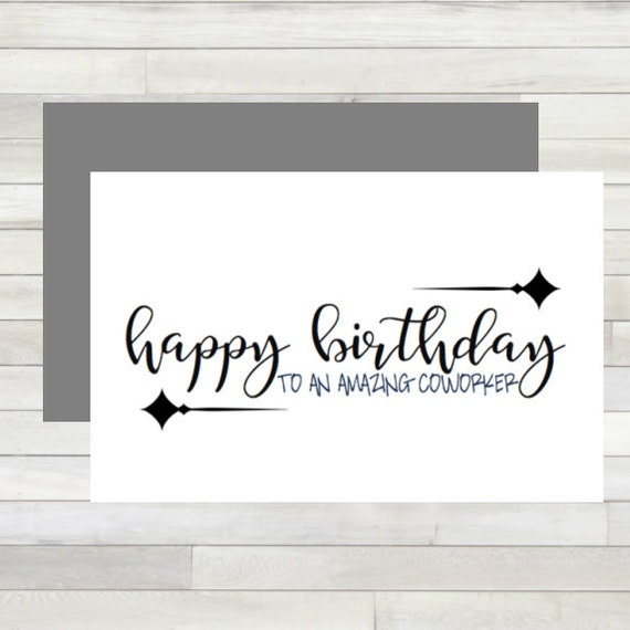 Greeting Card Happy Birthday Coworker Printable Instant Etsy
