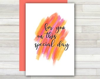 Greeting Card For You on This Special Day Printable Instant Download Last Minute DIY
