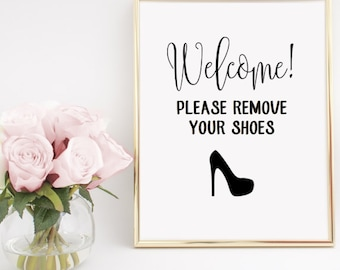 Please Remove Your Shoes Heels Sign Home Decor Printable Wall Art INSTANT DOWNLOAD DIY - Great gift!