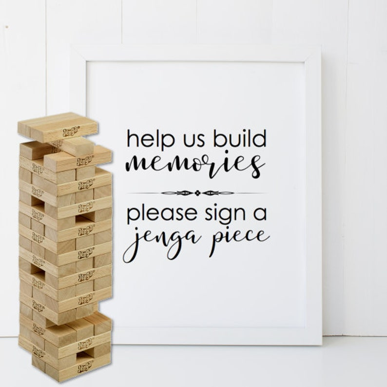 Guestbook Jenga Piece Sign Printable INSTANT DOWNLOAD DIY  image 1
