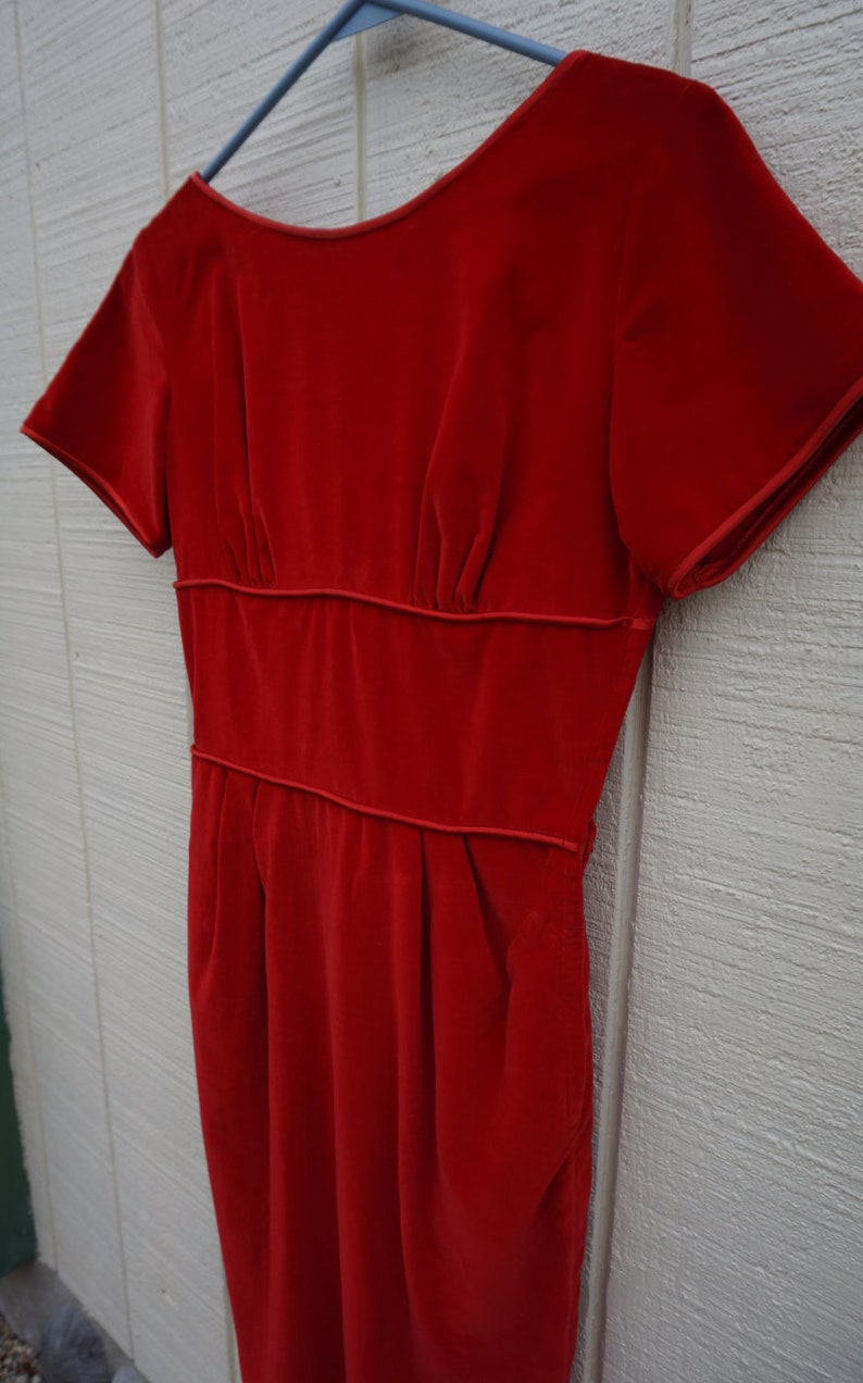 Vintage 50/'s  Luxe Red Velvet Dress with Satin TrimButtons by Teena Paige Sz Small