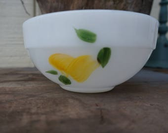 Vintage Fire King Small Mixing Bowl ~ Pear Fruit Design ~ White Oven Ware