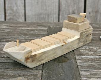 Holzschiff, Holzmodell, Modellschiff, Boot, Schiff, Geschenk, Deko, Wohnen,  Maritim, Mediterran, Dekoration, Schiffchen