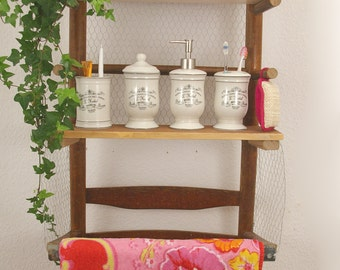 Bath shelf in vintage look, residential décor, sustainable living, upcycled shelf half chair, wall shelf in retro look