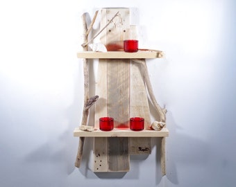 Pallet furniture, unique, wood, wall shelf made of pallet and driftwood, home decoration, home decoration, wooden shelf, pallet wood shelf, shelf for vases