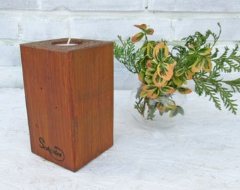 tea light holder, table decoration, residential decoration, candle holder, wood, reclaimed wood, upcycling,