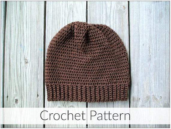 Basic Crochet Slouchy Beanie Hat PDF Pattern  2c6bd41fab5b
