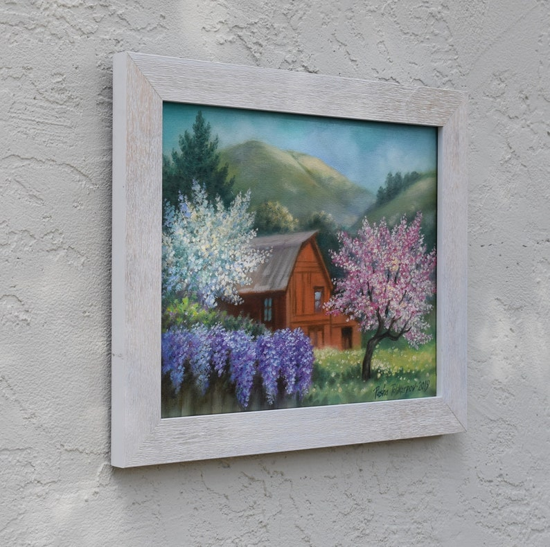 Spring Landscapes Blooming trees Paintings,California hills,California art,Pescadero,Half Moon Bay,Santa Cruz,San Francisco,Folk,Wisteria