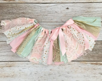 Pink Mint and Gold Sparkly Tutu, Pink Mint and Gold First Birthday, Pink and Gold Fabric Tutu, Baby Girl Pink and Gold Birthday Outfit