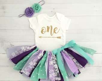 Mint and Purple/Lavender Birthday Outfit with Headband/Arrow Bodysuit/Purple and Mint Fabric Tutu/Baby Girl Bodysuit with Age