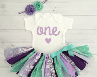 Purple/Lavender and Mint Birthday Outfit with Headband/Purple and Mint Fabric Tutu/Baby Girl Bodysuit with Age