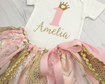 Pink and Gold Princess Birthday Outfit/Pink and Gold Princess Theme Fabric Tutu/Baby Girl First Birthday, Pink and Gold Fabric Tutu