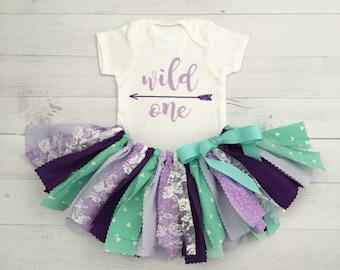 Purple/Lavender and Mint 'Wild One' Birthday Outfit, Baby Girl Birthday Outfit/Purple and Mint Fabric Tutu/Shirt with Age