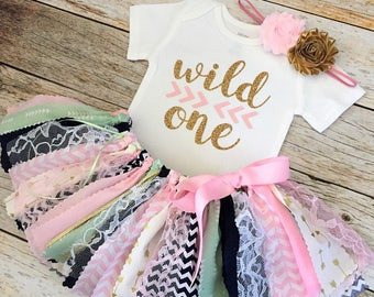 """Pink Mint Navy and Gold Arrow """"Wild One"""" Birthday Outfit with Headband, Baby Girl Wild One Birthday Theme, Baby Girl First Birthday Outfit"""