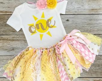 Flutter Bodysuit You are my sunshine Baby Girl Birthday Miss Sunshine Sunshine Theme Tutu Bloomer in Gold Yellow