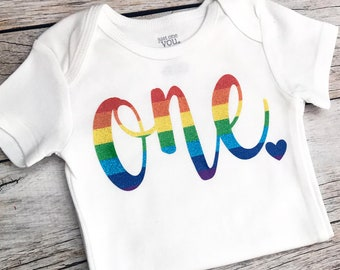 Rainbow Birthday Shirt Any Age Baby Girl Theme Party Bodysuit