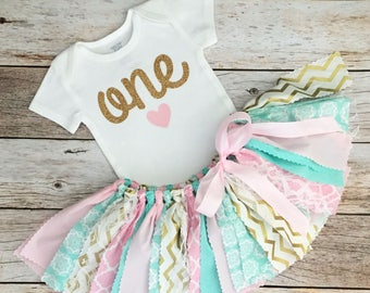 Pink, Mint and Gold Chevron, First Birthday Outfit/Fabric Tutu/Baby Girl