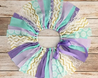 Lavender Mint and Gold Fabric Tutu, Purple and Mint Fabric Tutu, Purple First Birthday Outfit Girl