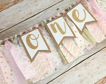 Pink and Gold Birthday Highchair Banner/Garland with Age (Made to Match), Photo Prop Banner, Fabric Banner, Birthday Banner