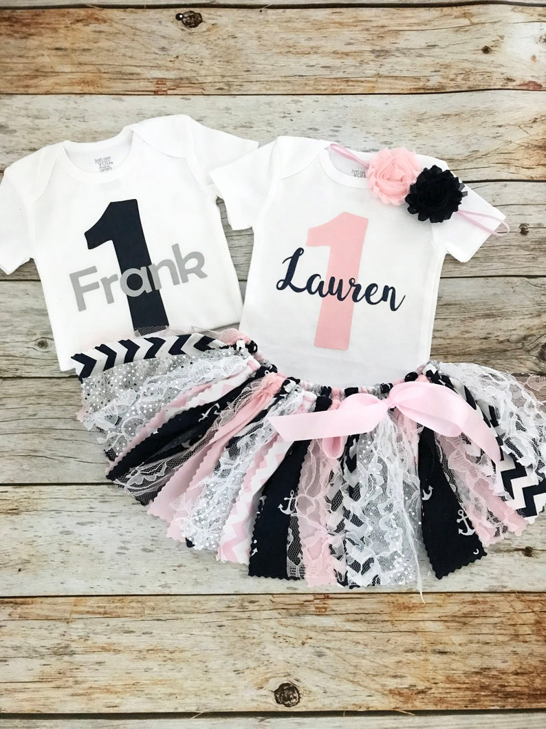 c17509d6933e9 Nautical Boy/Girl Twin First Birthday Outfits Navy and Pink   Etsy