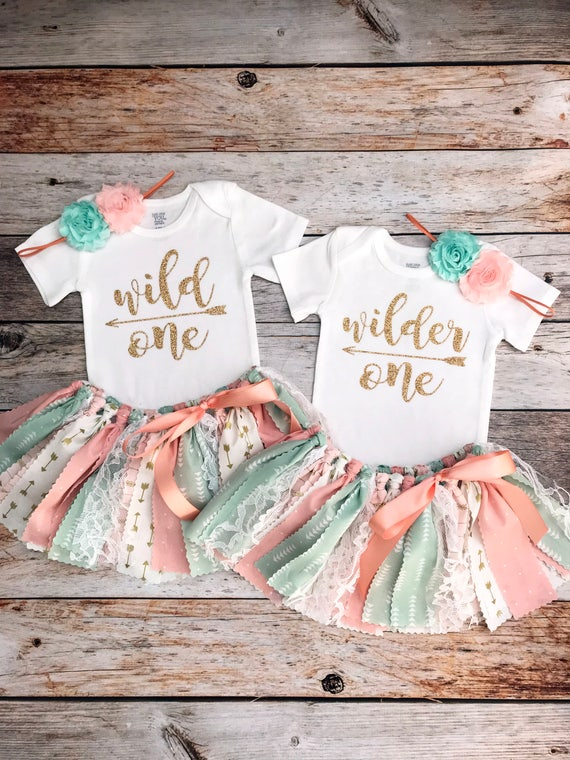 f8e81f2f65 Twin Girls Wild One Wilder One Birthday Outfits Twin Girls