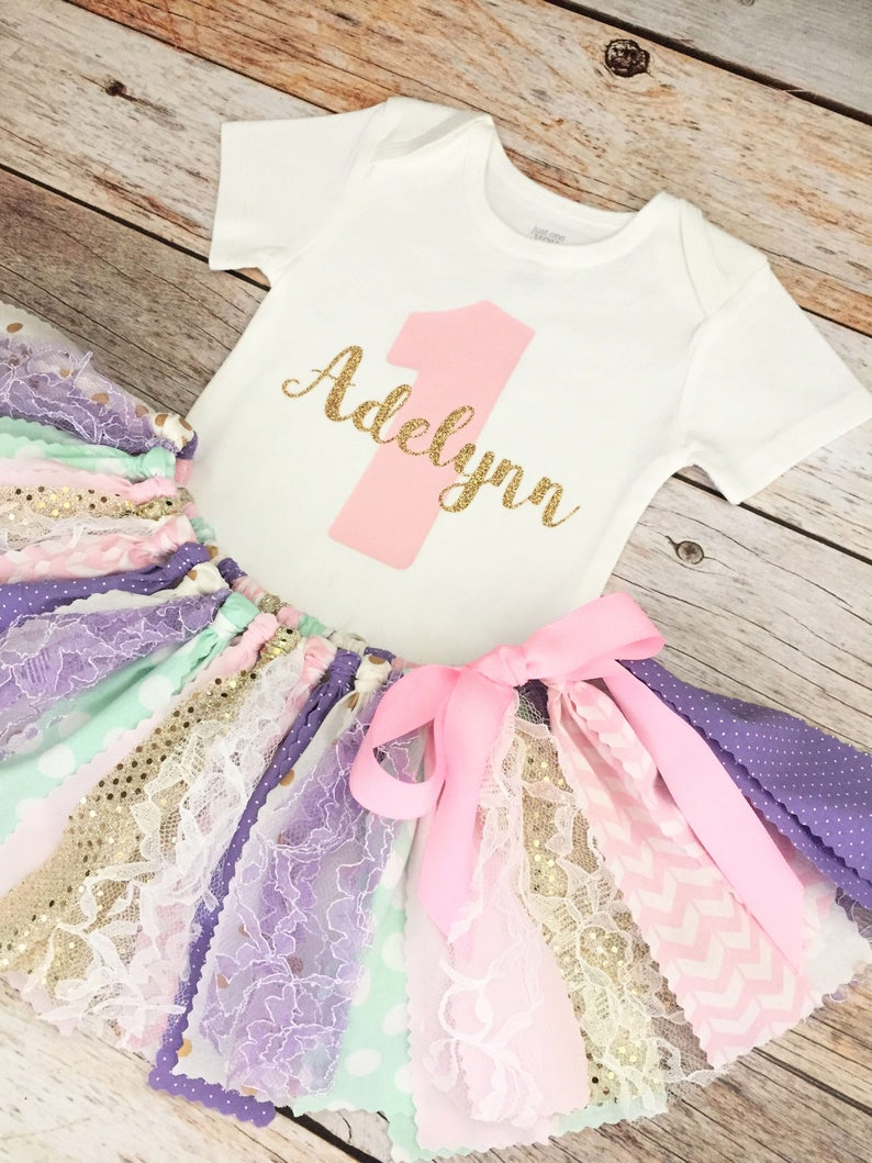 7739453e Pink Mint Lavender and Gold Sparkly Birthday Outfit with Name | Etsy