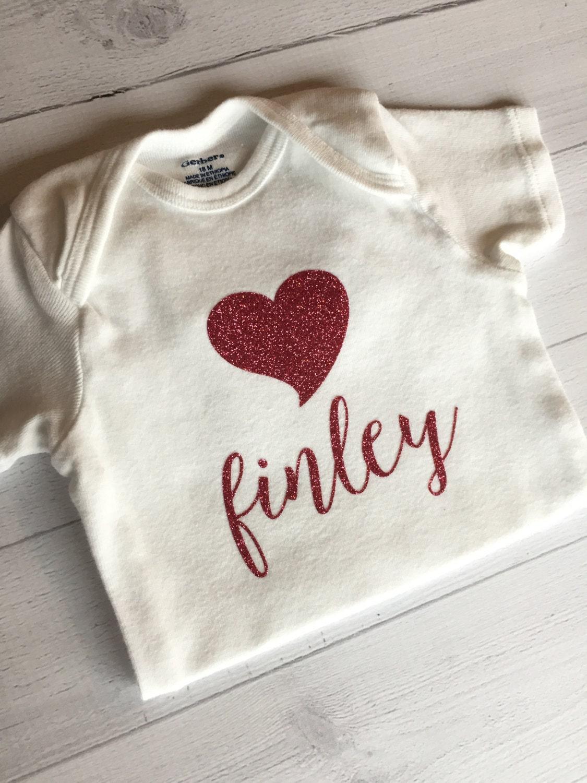 86db061d6 Baby Girl Heart ONESIE® bodysuit with Name Heart ONESIE®