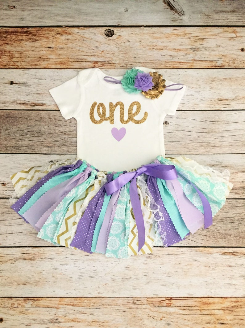 4a9408bf6492 First Birthday Outfit for Baby Girl Mint Lavender and Gold