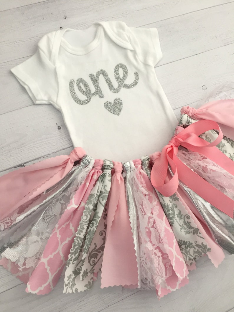 9312a9188be8 Pink and Silver First Birthday Outfit Pink and Silver Fabric