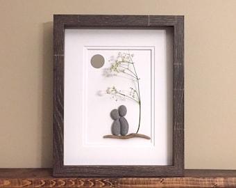 Pebble Art Anniversary Couple • 8x10 • framed • unique 5th, 10th, or 25th anniversary gift for the happy couple!