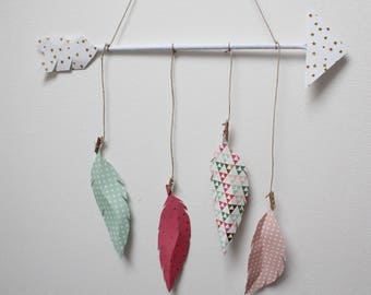 arrow mobile mobile feathers, mobile, baby gifts, nursery decor, baby mobile