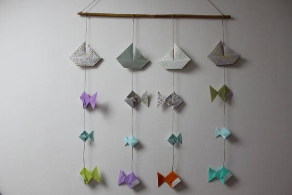 Child Mobile Boat Mobile Mobile Origami Mobile Fish Hanging Etsy