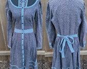 Vintage Gunne Sax Dress 13 Medium Midi Dress Black Floral Blue Polka Dot Button up cottage core