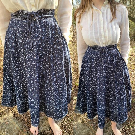Vintage Gunne Sax Skirt 13 Medium Navy Blue Floral