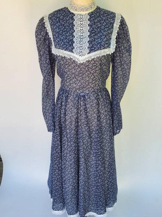 Gunne sax 13 blue midi dress medium floral ditsy f