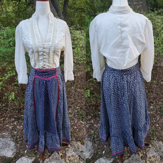 Vinrage Gunne Sax Skirt 11 Medium Small Navy Red F